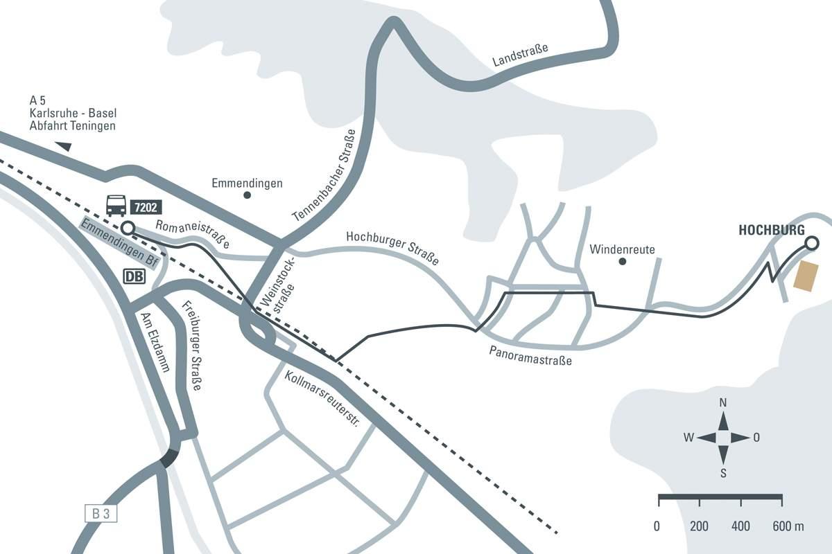 Anfahrtsskizze zur Hochburg Emmendingen; Entwurf: Staatliche Schlösser und Gärten Baden-Württemberg, JUNG:Kommunikation