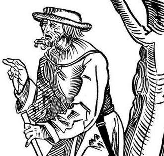"""Detail eines Holzschnitts um 1500 mit dem Titel """"Bauer, der ins Kloster gehen will""""; Foto: Landesmedienzentrum Baden-Württemberg, Dieter Jäger"""