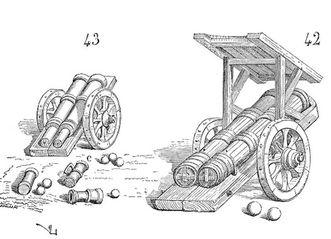 Beispiele früher Kanonen als Zeichnung; Foto: Wikipedia, gemeinfrei
