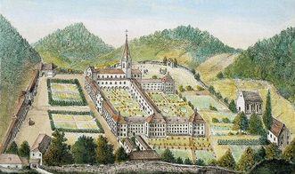 Luftansicht der Klosteranlage Tennenbach vor 1800, gezeichnet und radiert von M. Scherm; Scan: Landesmedienzentrum Baden-Württemberg