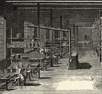Fabrikhalle einer Fayencerie, wohl Frankreich, 18. Jahrhundert, Kupferstich; Foto: Staatliche Schlösser und Gärten Baden-Württemberg, Arnim Weischer
