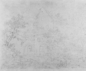 Küferhof mit Nordgiebel des Herbsthauses der Hochburg bei Emmendingen, angetuschte Kreidezeichnung von Goethe