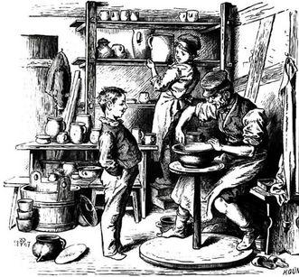 Töpfer bei der Arbeit mit (seinen) Kindern, Holzstich von Pletsch und H. Günther, 1867; Foto: Landesmedienzentrum Baden-Württemberg, Robert Bothner